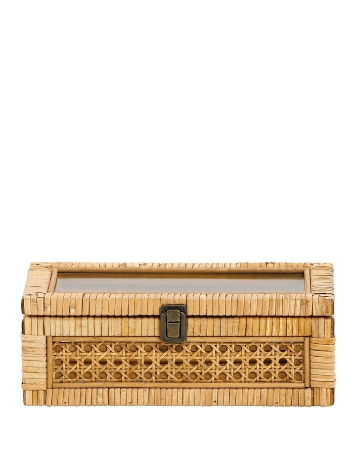 Rattan Box with Glass Lid 16x29cm image 1