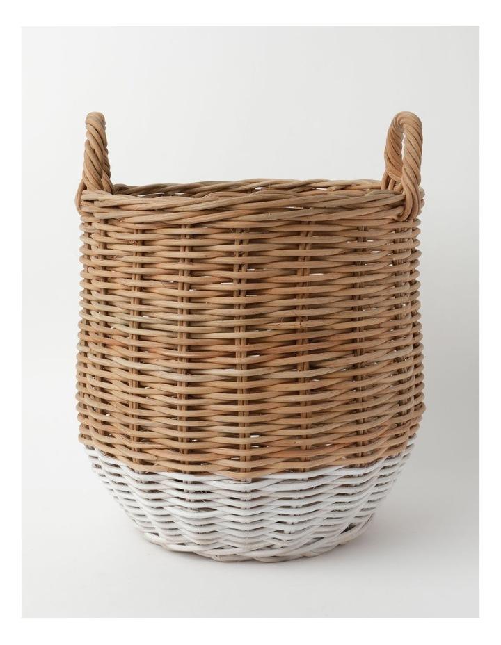 White Dipped Rattan Basket image 1