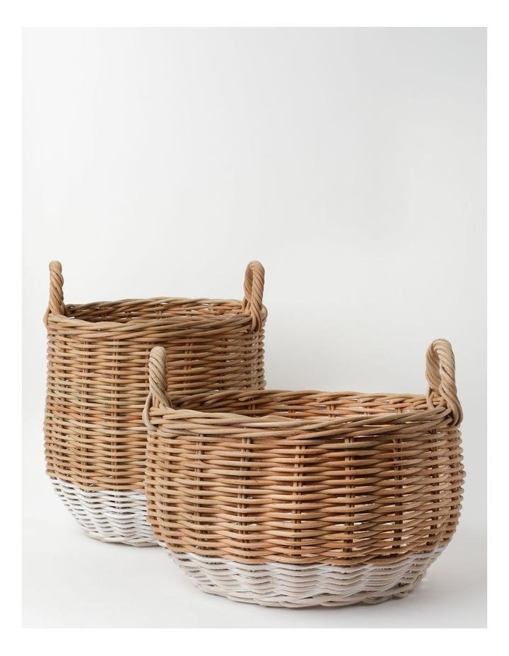 White Dipped Rattan Basket image 4