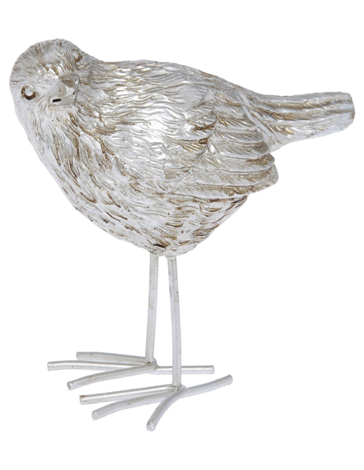 Rustic Silver Bird Ornament 9.8cm image 1
