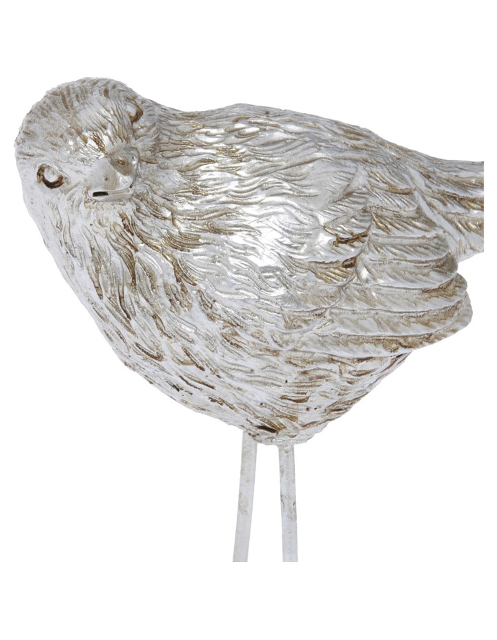 Rustic Silver Bird Ornament 9.8cm image 2