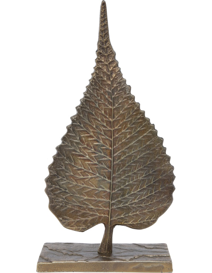 Metal Leaf Sculpture on Stand image 1