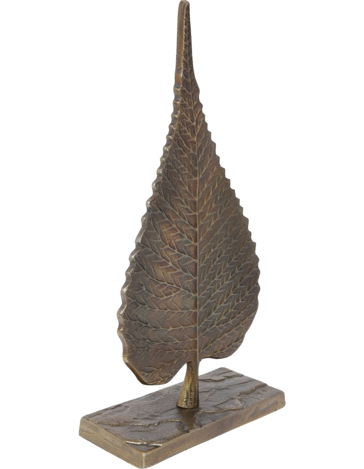 Metal Leaf Sculpture on Stand image 2
