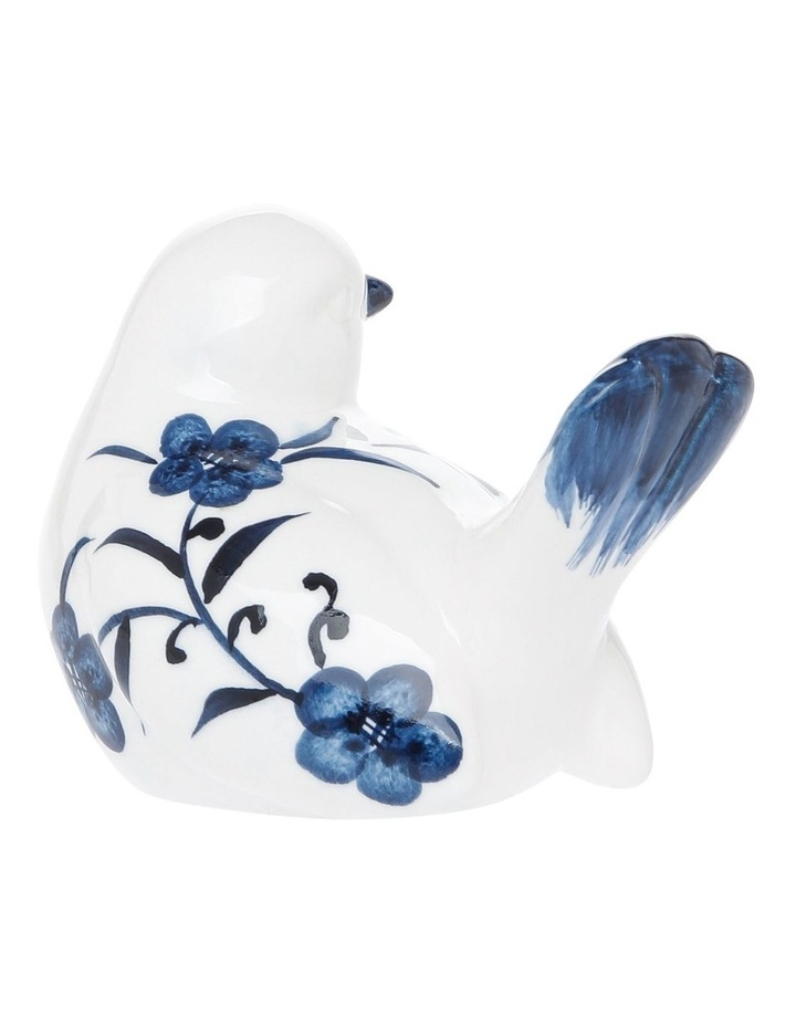 Floral Print Bird with Turned Head Blue White image 2