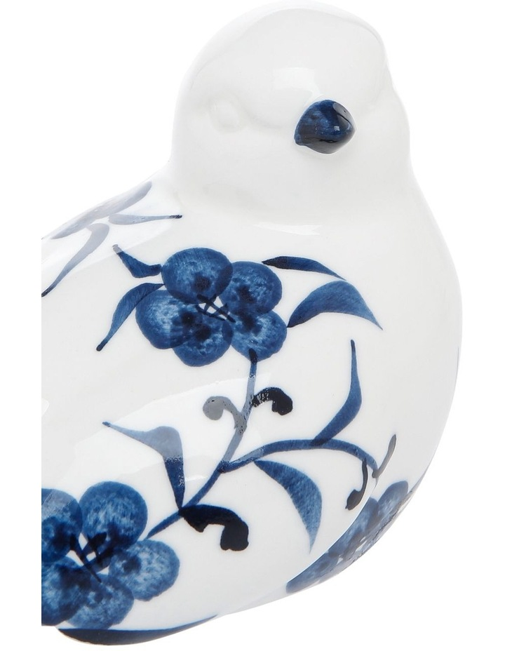 Floral Print Bird with Turned Head Blue White image 3