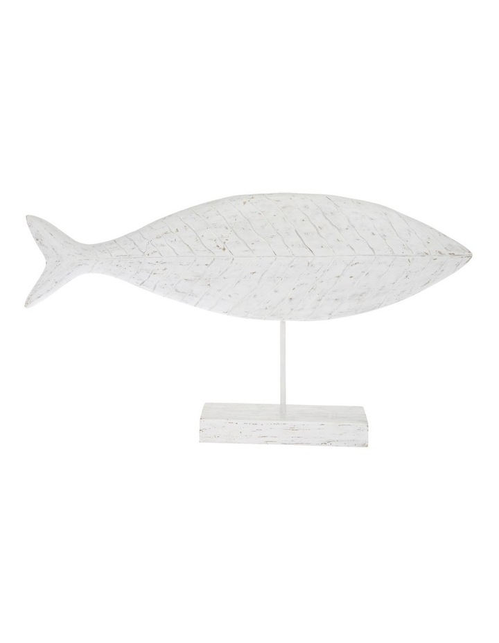 White-Washed Mango Wood Fish Sculpture image 1