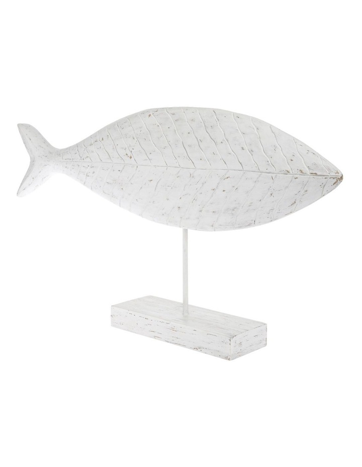 White-Washed Mango Wood Fish Sculpture image 2