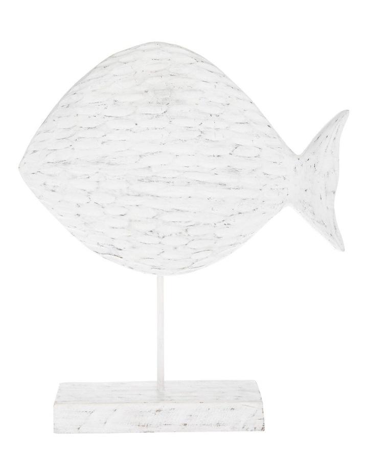 White-Washed Mango Wood Fish Sculpture image 1