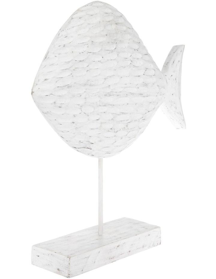 White-Washed Mango Wood Fish Sculpture image 2