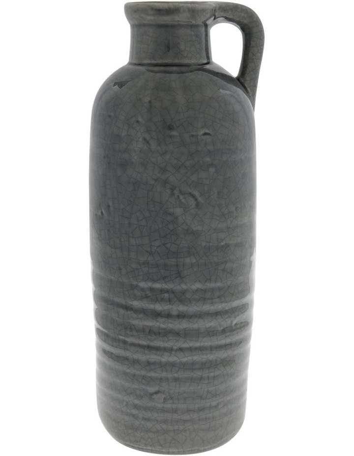 Ceramic Crackle Glaze Vase with Handle Grey 32.5cm image 1