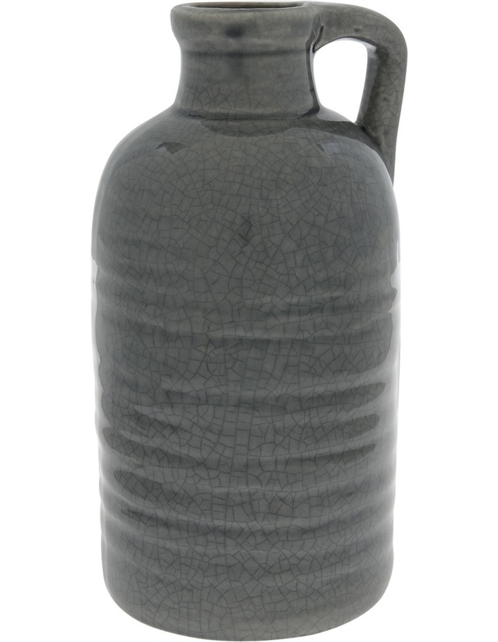 Ceramic Crackle Glaze Vase with Handle Grey 23.5cm image 1