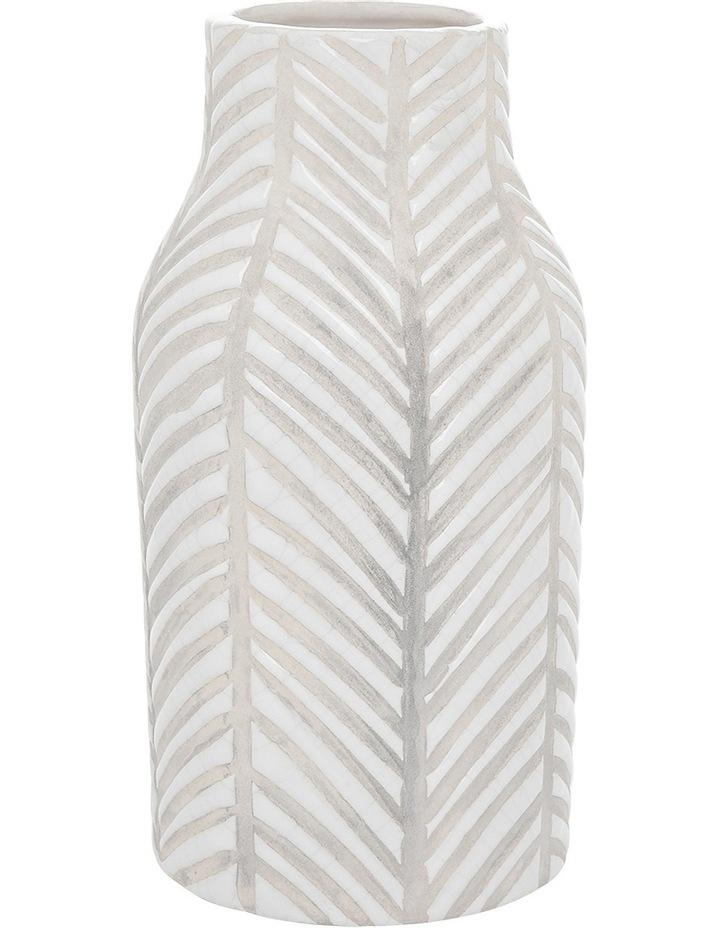Ceramic Glaze Stripe Vase White 10.5x20.5cm image 1