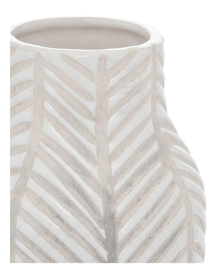 Ceramic Glaze Stripe Vase White 10.5x20.5cm image 2