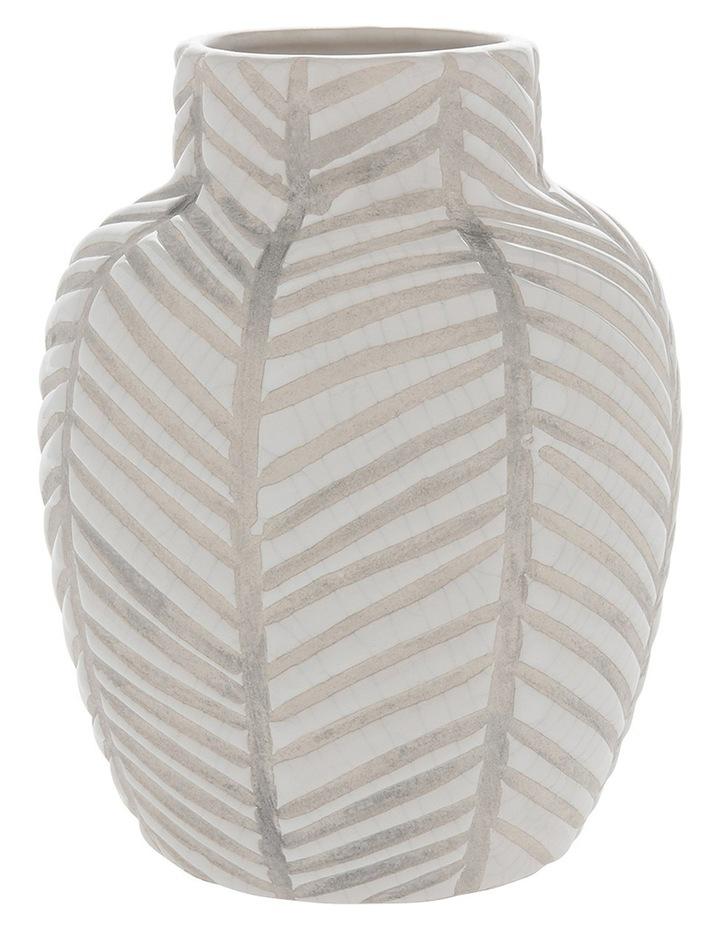 Ceramic Glaze Stripe Vase White 13.8x17.5cm image 1