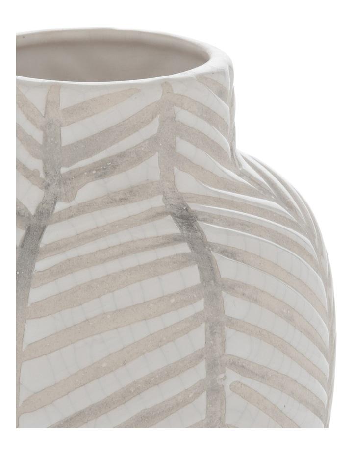 Ceramic Glaze Stripe Vase White 13.8x17.5cm image 2