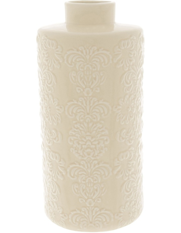 Ceramic Embossed Vase White 26cm image 1