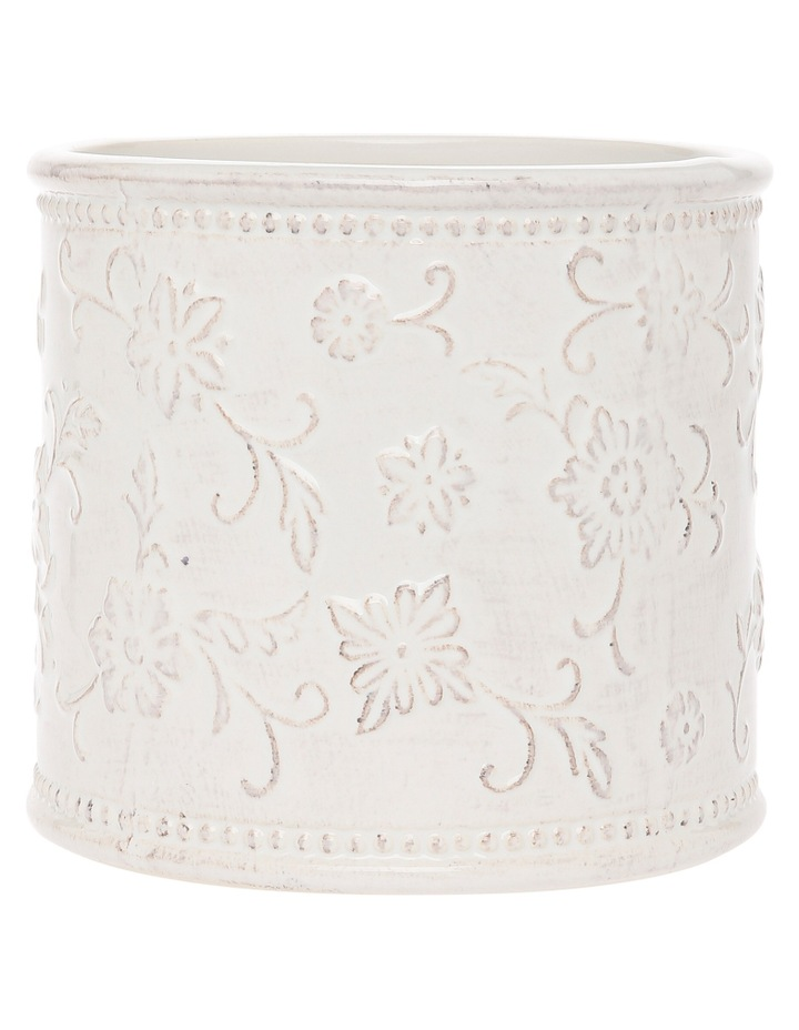 White Vintage Embossed Vessel with Antique Finish 13.8cm image 1