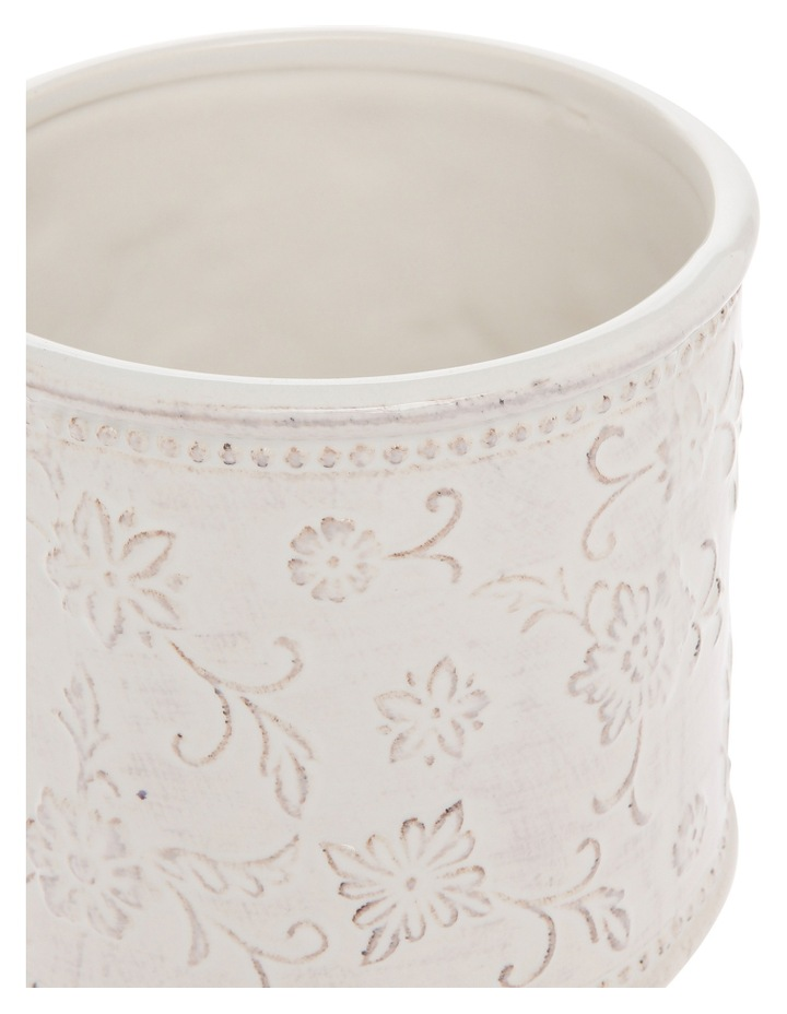 White Vintage Embossed Vessel with Antique Finish 13.8cm image 2