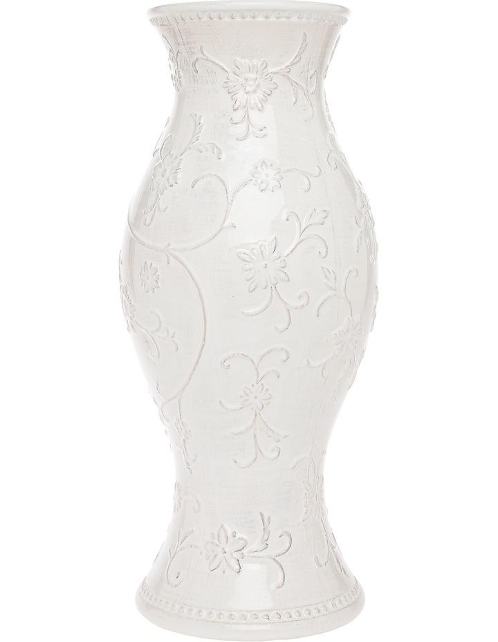 White Vintage Embossed Vase with Antique Finish 40cm image 1