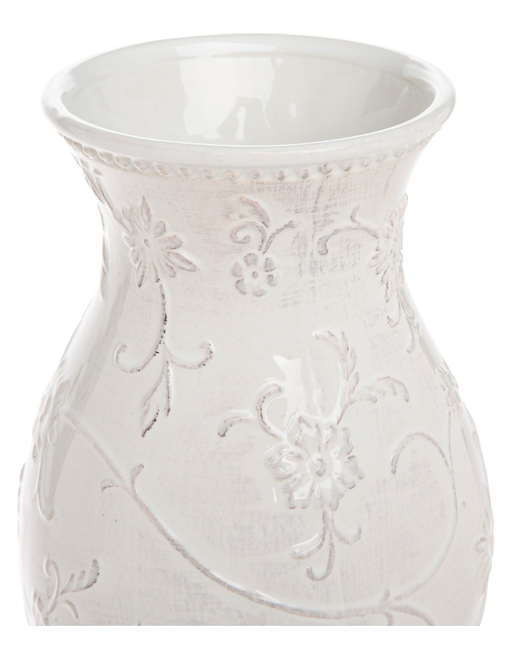 White Vintage Embossed Vase with Antique Finish 40cm image 2