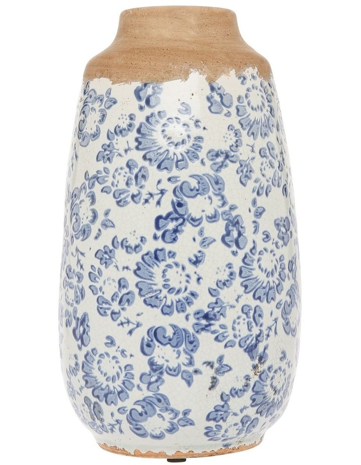 Small Mouth Vase With Blue and White Floral Stamping Tall image 1