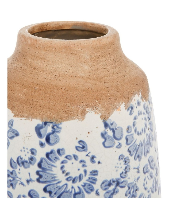 Small Mouth Vase With Blue and White Floral Stamping Tall image 2