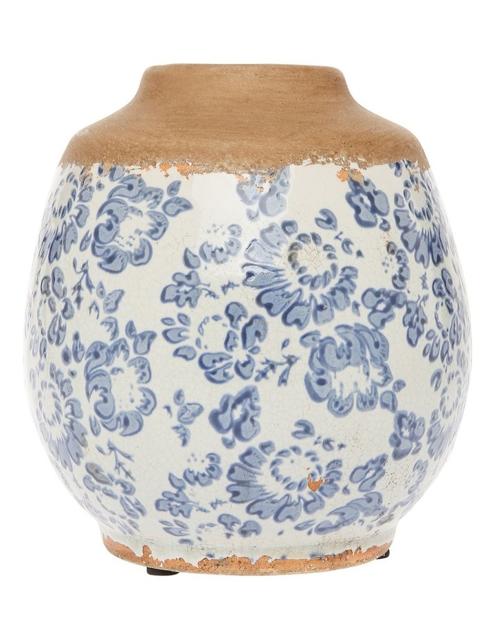 Small Mouth Vase With Blue and White Floral Stamping Short image 1