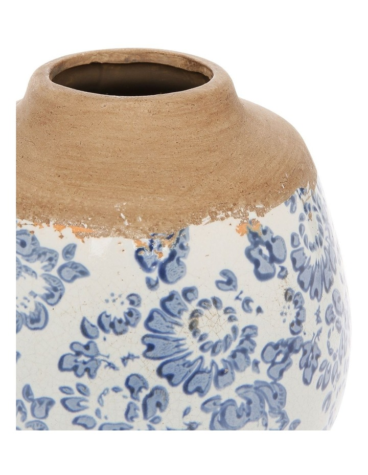 Small Mouth Vase With Blue and White Floral Stamping Short image 2