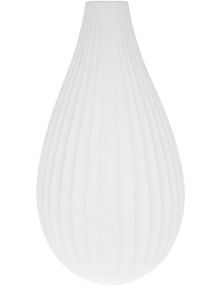 Matte Ribbed Vase White 30cm image 1