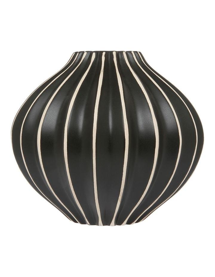 Tribal Ribbed Ceramic Vase Black White 21cm image 1