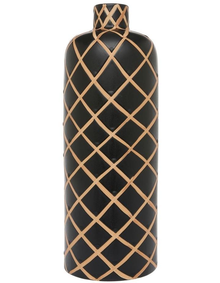 Hand-painted Tribal Grid Ceramic Vase Black Terracotta 35cm image 1