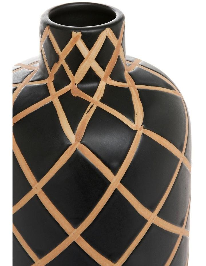 Hand-painted Tribal Grid Ceramic Vase Black Terracotta 35cm image 2