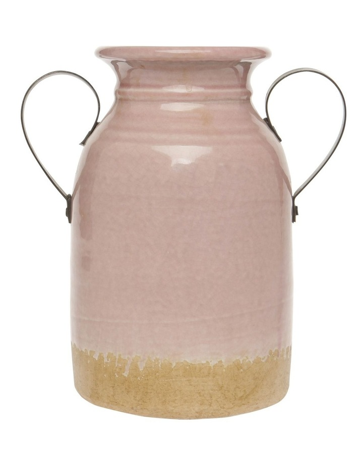 Vase with Metal Handles Pink Small 25cm image 1