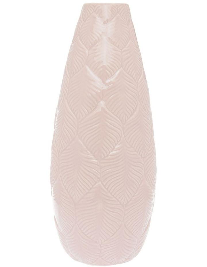 Leaf Embossed Ceramic Tall Vase - Rose 31cm image 1