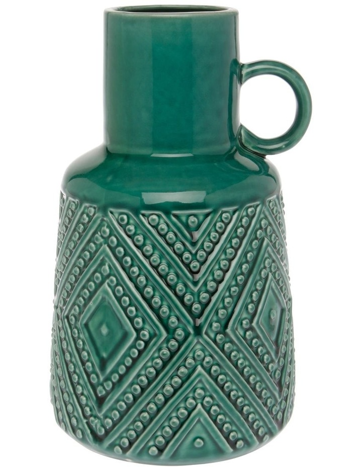 Embossed Ceramic Vase with Handle Green 25cm image 1