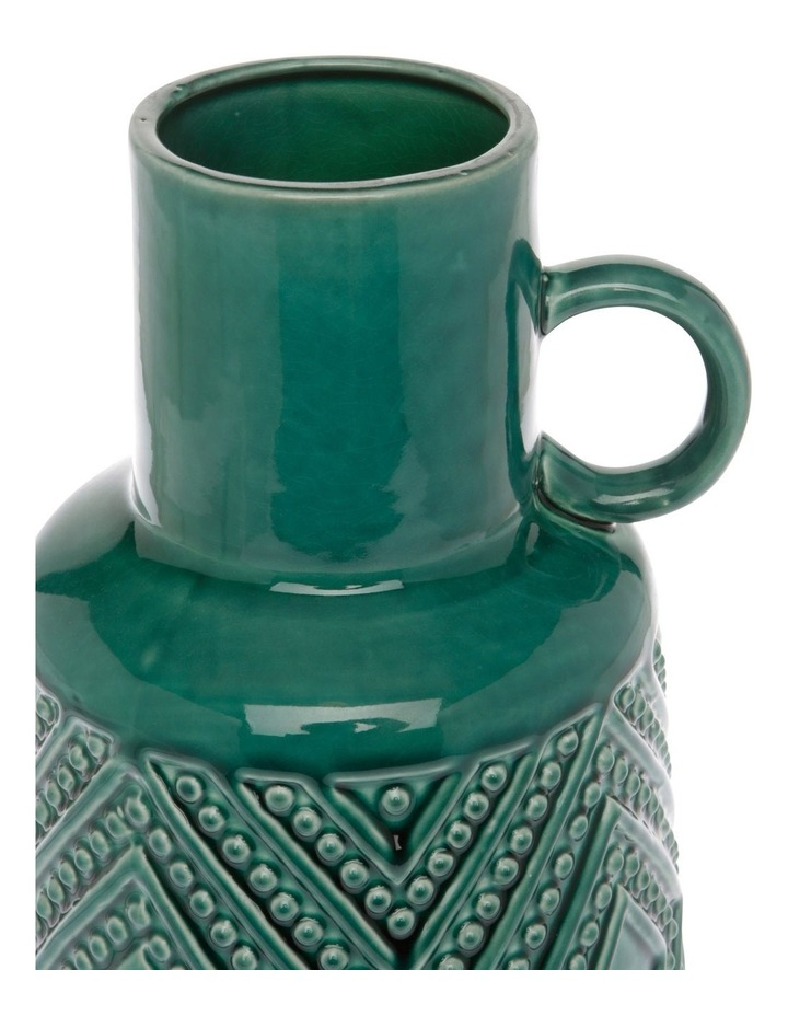 Embossed Ceramic Vase with Handle Green 25cm image 2