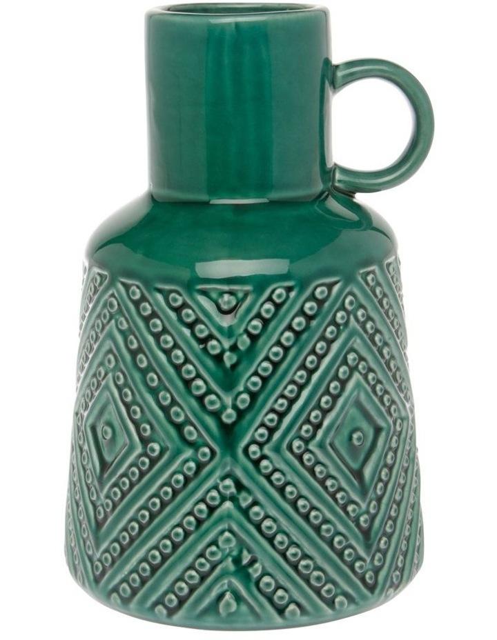Embossed Ceramic Vase with Handle Green 21cm image 1