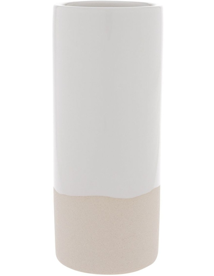 White Glazed Ceramic Cylinder Vase image 1