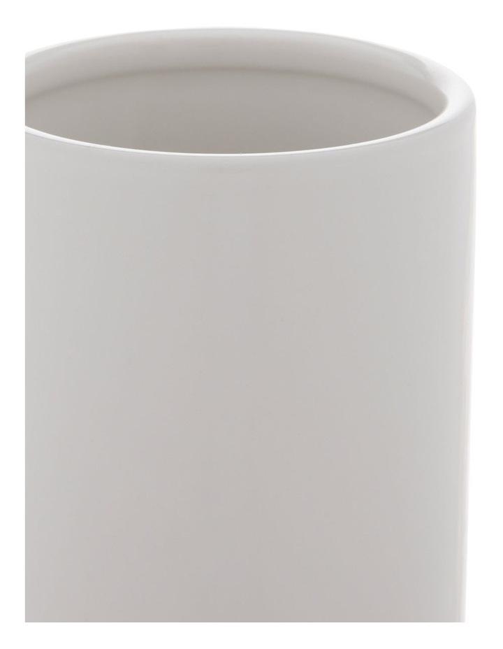 White Glazed Ceramic Cylinder Vase image 2