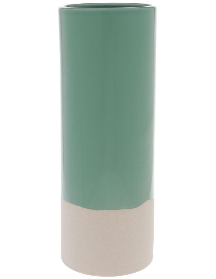 Green Glazed Ceramic Cylinder Vase image 1