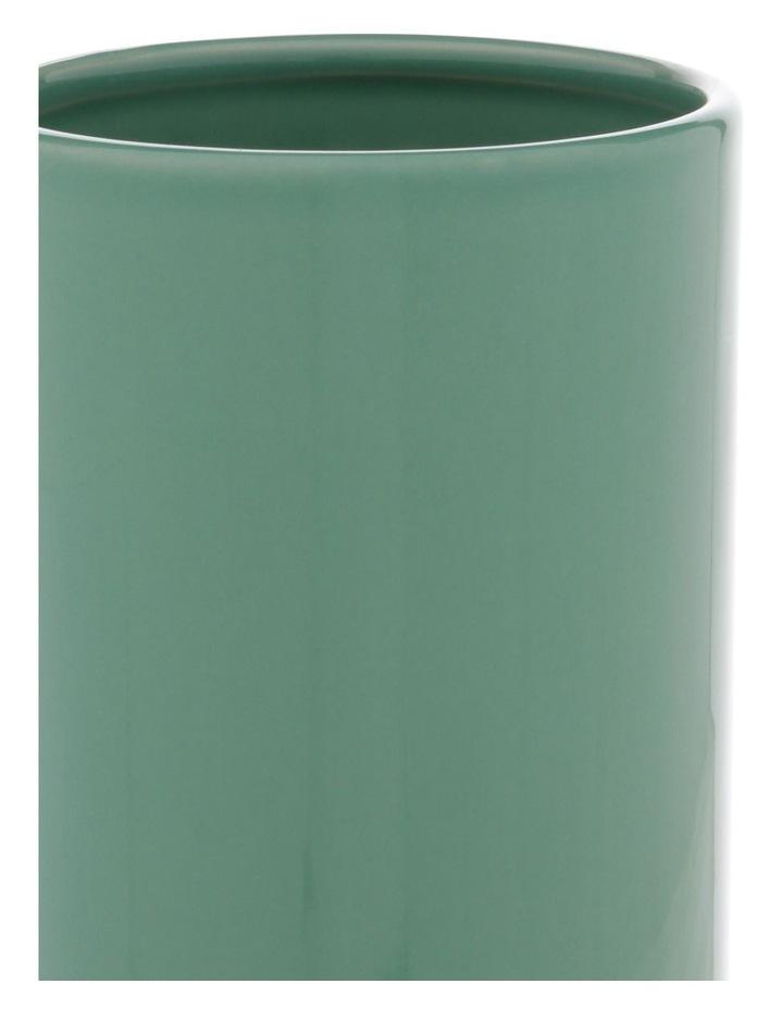Green Glazed Ceramic Cylinder Vase image 2