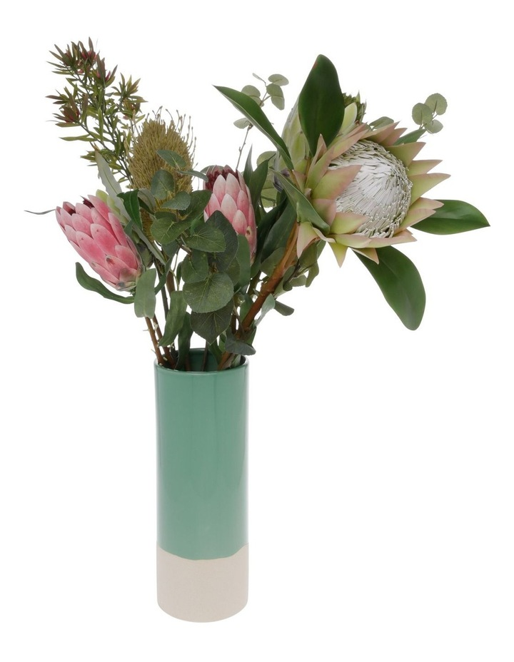 Green Glazed Ceramic Cylinder Vase image 3