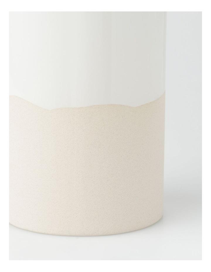 Glazed Ceramic Cylinder Vase - White image 3
