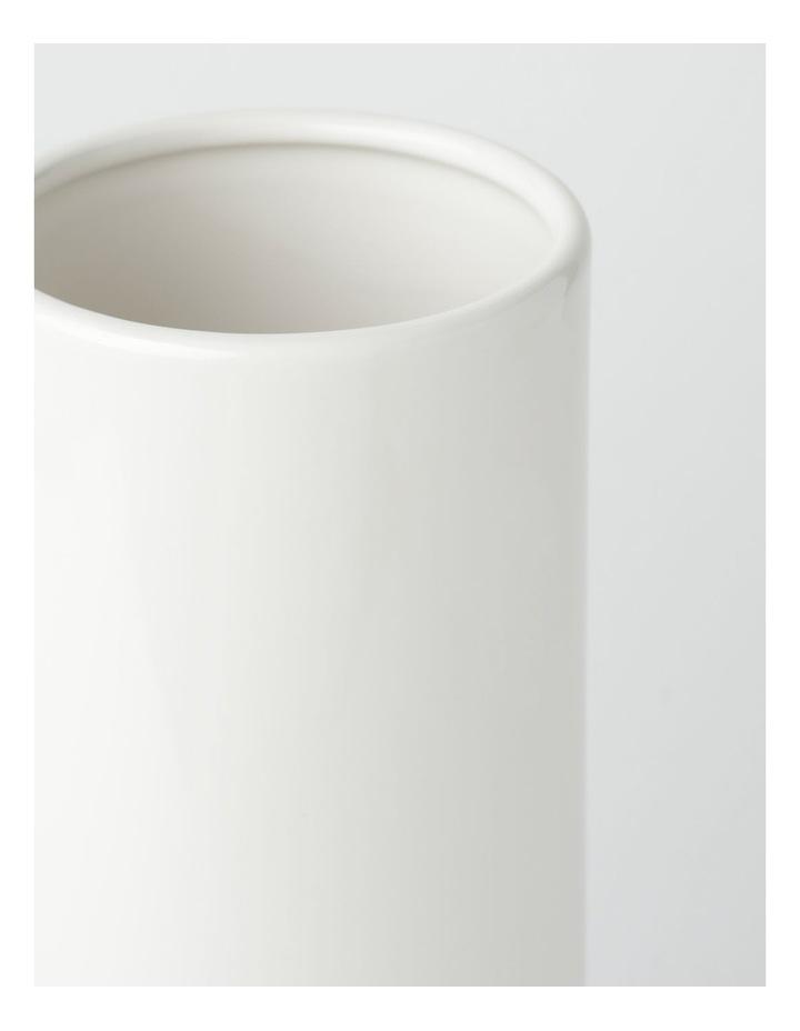 Glazed Ceramic Cylinder Vase - White image 5
