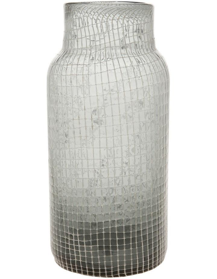 Glass Grid Vase Grey 32.5cm image 1
