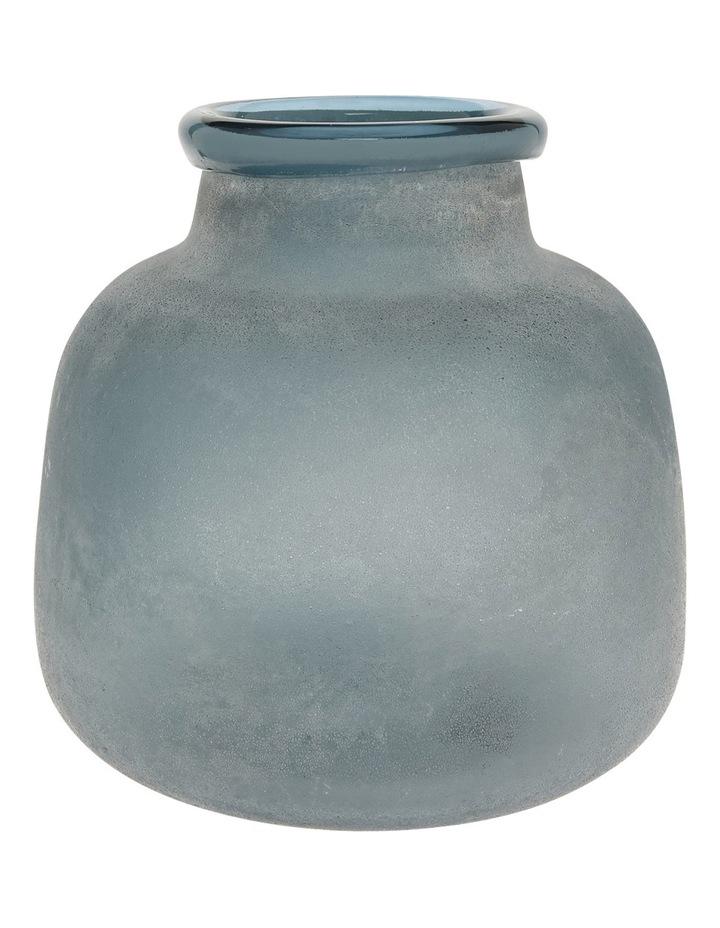 Frosted Blue Glass Vase 22.5cm image 1