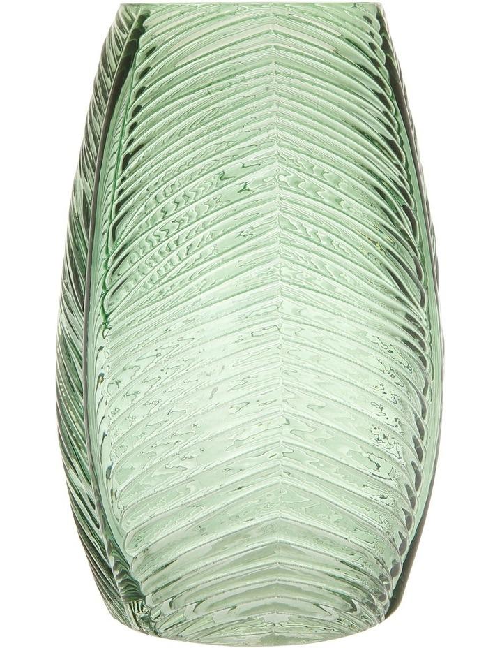 Leaf Pattern Embossed Vase Green 20cm image 1