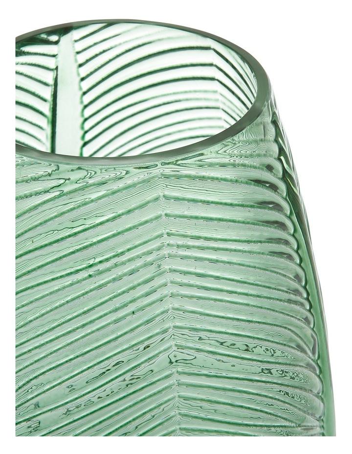 Leaf Pattern Embossed Vase Green 20cm image 2