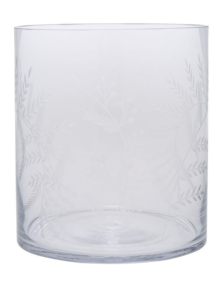 Etched Clear Glass Vase Small 18cm image 1