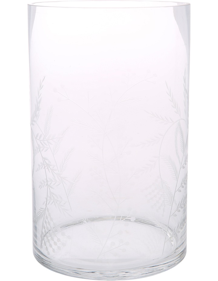 Etched Clear Glass Vase Large 28.5cm image 1